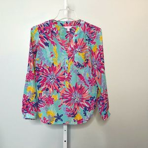 Lilly Pulitzer 100% Silk Sippin Trippin Top